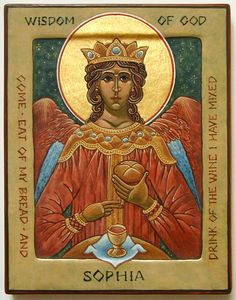 "Icon of Sophia the Wisdom of God (Kiev), based on Solomon's Proverbs: ""Wisdom has built a house for herself, and has set up seven pillars"" (9:1). Description from pinterest.com. I searched for this on bing.com/images"