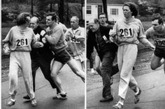 Catherine Switzer, the first woman to compete in the Boston marathon. The organiser tried to nock her out of the race as it was traditionally for men. She registered using her initial only. Fellow runners stopped him and she went on to complete the race. 1967