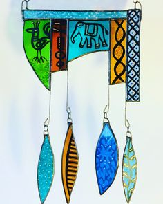 Painted glass wind chime inspired by travels in Rajasthan Glass Wind Chimes, Stained Glass Paint, Dip Pen, Nice Things, Fused Glass, Mosaics, Jewelry Ideas, Glass Art, Wave
