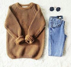 knit sweater + denim completo inverno