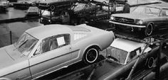 1965 Mustangs being loaded on haulers