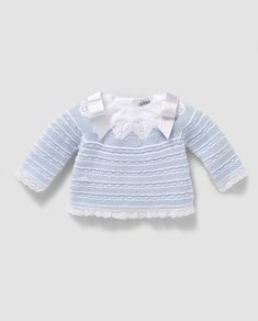 This Pin was discovered by Pit Knitting For Kids, Baby Knitting, Crochet Baby, Crochet Top, Baby Barn, Knit Baby Sweaters, Girl Dress Patterns, Baby Cardigan, Knitted Dolls