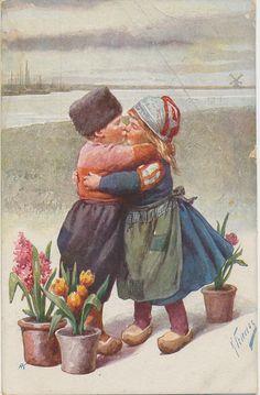 kussend paar Volendam- Marken 1932