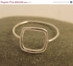 Black friday etsy jewelry, Geometric jewelry, Square ring in sterling silver, handmade for everyday wear. $19.20, via Etsy.