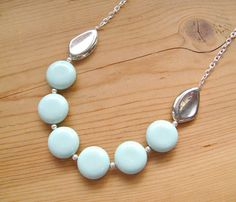 Mint and Silver Statement necklace, Mint Silver long statement necklace on Etsy, $26.00