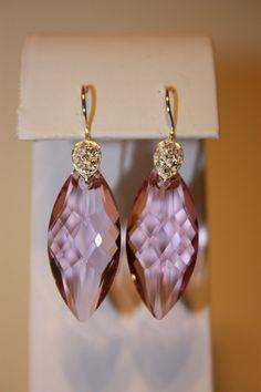 light purple navette shaped swarovski crystal by NVMEJewelry, $25.00