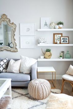 white floating shelves for right side of couch//maybe leave room for plants underneath?!