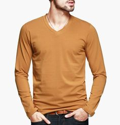 New 2015 Mens solid Casual Long Sleeve V-Neck T Shirt