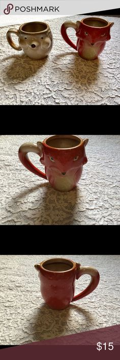 Gibson 🦊fox and hedgehog coffee mugs Brand new never used. Adorable 3D coffee mugs. Rare to find. Comes from a smoke/pet free home  We ship same day!🙂✌🏼💋 Gibson Accessories