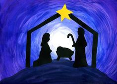 How to Make a Nativity Silhouette - Art Project for students. Here is an amazing art project. They are so striking. Preschool Christmas, Noel Christmas, Christmas Nativity, Christmas Activities, Christmas Crafts For Kids, Holiday Crafts, Christmas Printables, Christmas Canvas, Christmas Scenes