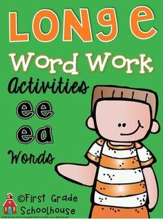 Long e Word Work Activities ee ea Words. $ Activities to practice and reinforce long vowel phonics skills.