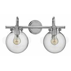 Hinkley Lighting 50024 2 Light Width Bathroom Vanity Light With Clear Glo  Chrome Indoor Lighting Bathroom Fixtures Vanity Light