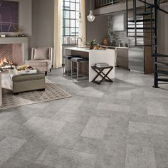 Modern Floor Tile Living Room Design Ideas, Remodels & Photos | Houzz