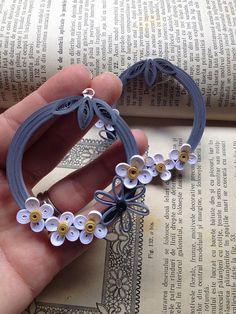 Statement hoop earrings Contemporary jewelry Gray /white /gold paper earrings Gift for her Photo prop Jewelry art Fashionable earrings Paper Quilling Earrings, Paper Quilling Flowers, Paper Quilling Patterns, Quilled Paper Art, Quilling Paper Craft, Quilling Tutorial, Handmade Jewelry Designs, Paper Jewelry, Quilling Techniques