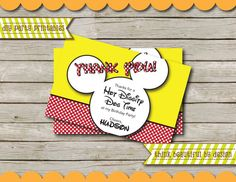 DIGITAL FILE Super Cute Mickey Mouse Thank You Card  by TBBDesign, $4.29