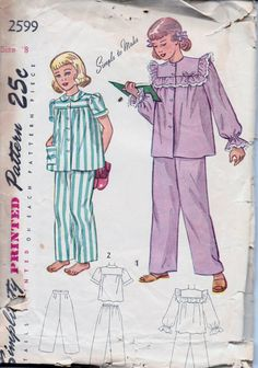 Simplicity 2599 Young Girls Two Piece Pajamas PJ's Vintage 1940's Sewing Pattern