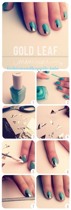 Cool Nail Art Ideas -How To Do A Gold Leaf Manicure- Nail Polish Design Ideas- Candy Coat Stars and Stripes Nail Design Tutorial - Easy Nail Art Tutorials - Fun and Easy DIY Nail Designs - Step By Step Tutorials and Instructions for Manicures at Home Love Nails, How To Do Nails, Pretty Nails, Fun Nails, Shiny Nails, Silver Nails, Diy Metallic Nails, Chrome Nails, Do It Yourself Nails