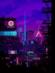 Cyberpunk City, Cyberpunk Aesthetic, City Aesthetic, Purple Aesthetic, Pixel Art Gif, Cool Pixel Art, Pixel City, Pixel Art Background, Vaporwave Wallpaper