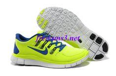 4d0u80 Mens Nike Free 5.0 Yellow Blue Running Shoes