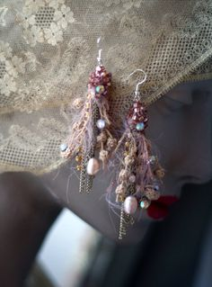 branches --shabby chic fiber and antique trim earrings, hand sewn, beaded