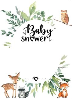 Shop Woodland Baby Shower Invitation Animals Greenery created by LittleHillTop. Tarjetas Baby Shower Niña, Juegos Baby Shower Niño, Invitaciones Baby Shower Niña, Imprimibles Baby Shower, Baby Shower Invitation Templates, Baby Shower Printables, Baby Shower Templates, Shower Bebe, Baby Boy Shower