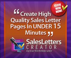 Get #SalesLetter Creator #software that creates compelling, professional sales web pages in less than 15 minutes! I'm proud of my sales letter generator #tool and am offering you a substantial #discount. I believe it's 61% off. Now just $77  Yes, I use it frequently for my own web product #promotions. You just select pre-written sentences and paragraphs.. that makes using SLC so darn easy.. Awesome for your #business websites.  By Geoff Dodd, Perth 6000 Australia