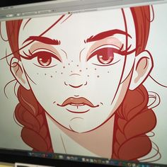 Hello!  - #workinprogress #wip #wooman #girl #face #vector #illustration #adobeillustrator #beauty #strong #freckles #lips #outlines #redhead #bestvector #visforvector #characters #lashes #braids #hairporn
