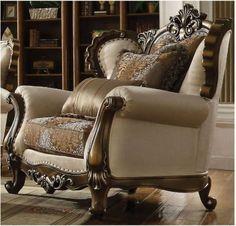 Latisha Chair w/ 2 Pillow in Tan, Pattern Fabric & Antique Oak - Acme Furniture 52117 Acme Furniture, Sofa Furniture, Luxury Furniture, Ellesse, Leather Club Chairs, Luxury Sofa, Luxury Living, Design Case, Living Room Sets