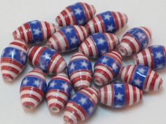 Paper beads- Recycled paper beads- Loose paper beads- Beading supplies- Jewelry Supplies- Upcycled- Bi-cone beads-  Patriotic beads- Beads by SunshineJStudio on Etsy