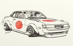 "car illustration""crazy car art""jdm japanese old school ""DARUMA CELICA""original cartoon ""mame mame rock""  /  © ozizo"