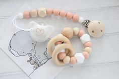 Teething gift set for baby / Peach pacifier clip and teething