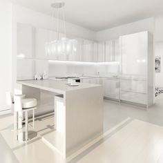 20 Sleek and Serene All White Kitchen Design Ideas To Inspire White Kitchen Floor, White Kitchen Cabinets, Bathroom Cabinetry, Wall Cabinets, Modern Kitchen Interiors, Luxury Kitchen Design, White Interiors, Kitchen Contemporary, Kitchen Modern
