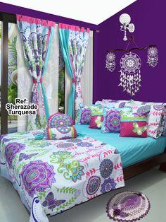 Disponible en cortinas, cojines, juegos de baño y sábanas en todas las medidas. #Sherazade #Dalotex #Lencería #Hogar #Sabanas #moda #colors #Blue #SabanasDalotex #Turquesa #Mandala #Paisley #Mariposa #Butterfly #Rosa #Fucsia #Lila #Violet Girls Bedroom, Bedroom Decor, Valance Patterns, Bed Cover Design, Purple Rooms, Printed Curtains, Bed Covers, My Room, Bed Sheets