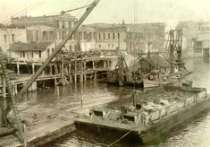The Waterfront in 1929, before the Harbor Wall... not so inviting as today's beautiful park, is it?