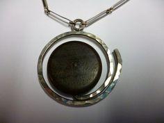 Kaija Aarikka Finland Vintage Pendant and Chain Silver and Dark Wood 1961 Antique Jewelry, Vintage Jewelry, Body Adornment, Modern Traditional, Dark Wood, Finland, Pocket Watch, Vintage Antiques, Scandinavian