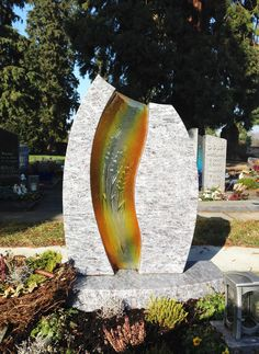 aan170 Cemetery Headstones, Cemetery Art, Grave Monuments, Grave Markers, Funeral, Surfboard, Stained Glass, Sculptures, Carving