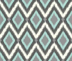 ikat fabric turquoise | Gray and Aqua Tribal Ikat Chevron fabric by jenniferstuartdesign on ...