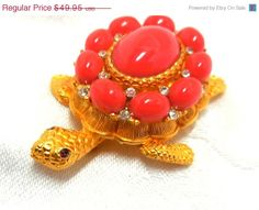 ON SALE Vintage CADORO Turtle Brooch/Orange cabs & by JewlsinBloom
