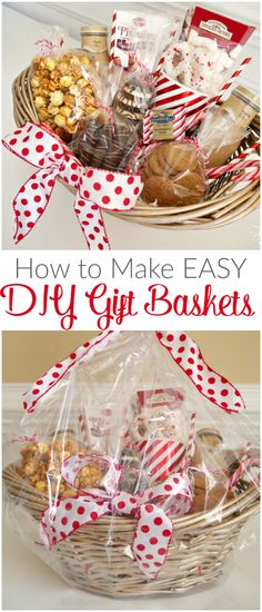 How to Make Easy DIY Gift Baskets - perfect for the holidays for hostess gifts and teachers' gifts!
