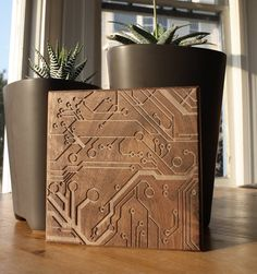 Dave Marcoullier - Wood Routing (Circuit. - 7x7) - Walnut. $44.00, via Etsy.