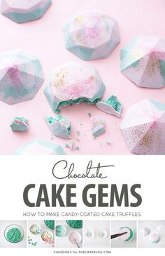 Cake Truffle Gems Cake Gems - how to make gem-shaped chocolate truffles filled with cake Brownie Desserts, Cute Desserts, Oreo Dessert, Dessert Recipes, Dessert Boxes, Wedding Desserts, Cake Recipes, Wedding Cakes, Chocolate Molds