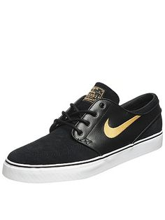 the #Nike SB Janoski #Shoes in a new colorway, Black/Metallic/Gold $76.99