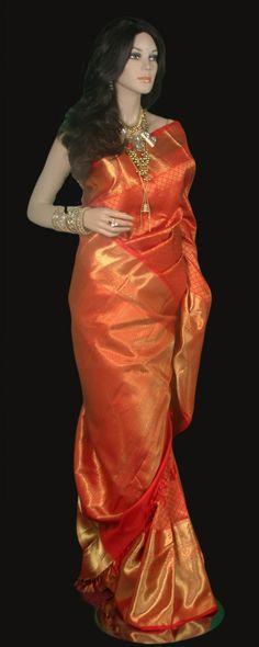 Red Kanjeevaram Bridal Zari Saree