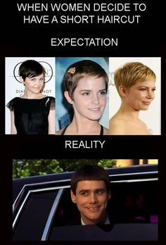 The Best Funny Pictures GIF and MEMES about When women decide to have a short haircut. Best MEME and GIFS about When women decide to have a short haircut and Funny Pictures Short Hair Cuts For Women, Short Hair Styles, Hair Fails, Girls Cuts, Expectation Vs Reality, Def Not, I Love To Laugh, Tumblr, Laughing So Hard