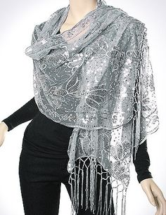 Stylish Silver Evening Wrap Diva - buy stylish evening shawls, evening wraps silver gold navy red green purple coral turquoise beige cream brown.