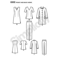 Simplicity Pattern 8302 Misses'/Women's Dress or Tunic, Slim Pants and Unlined Coat
