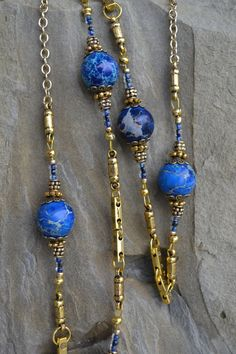 Blue Jasper Beaded Long Necklace Golden Handmade by LKArtChic
