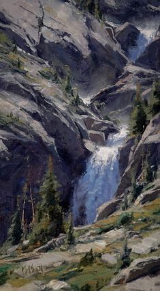 Switchback Cascade Oil 18 x 10 by Matt Smith Oil Great Paintings, Beautiful Paintings, Beautiful Landscapes, Oil Paintings, Watercolor Landscape, Landscape Art, Landscape Paintings, Animals Tattoo, Waterfall Paintings