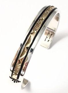 Native American Sterling Silver &14kt Gold Apache Marc Antia Cuff Bracelet #NativeAmerican #Cuff