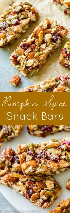 Homemade copycat KIND bars with pumpkin spice, almonds, pumpkin seeds, and dried cranberries. Grain-free and just what you need this Fall!